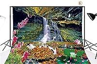 新しい7x5ft風景ビニール写真の背景鳥花滝カスタマイズされた写真背景スタジオ小道具PB05