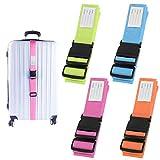 Correas para Equipaje, AILANDA 4pcs Cinturón de Seguridad de Equipaje Ajustable Multicolor Accesorios de Viaje Embalaje con Ranura para Etiquetas de identificación