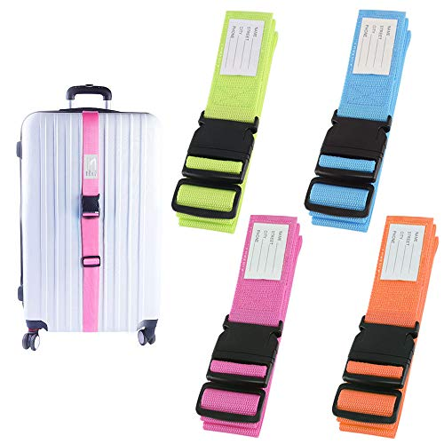 AILANDA 4 Pack Heavy Duty Luggage/Suitcase Straps Adjustable Travel Packing Belt with Buckle Closure and Identity Address Label Baggage Security Straps, 4 Colors