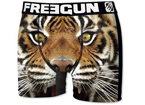 FREEGUN Herren Boxershorts Wild-Faces-Edition, 7 MEGA Designs in 5 Größen (S/4/46, Tiger)