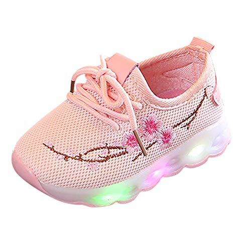 Doublehero Baby Mädchen und Jungen Kleinkind Mode Stern leuchtendes Kind Bunte helle Schuhe Kinder Schuhe mit Licht Led Leuchtende Blinkende Turnschuhe für Kinder (22 EU, Rosa2)