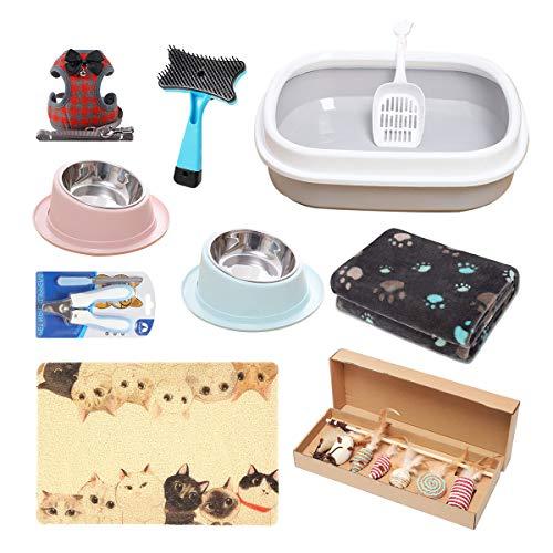 AONESY Kit de Inicio para Gatitos, Juego de 17 Piezas para Gatos, Incluye: Juguetes para Gatos/Mantas de Cama para Gatos/Herramienta de Aseo para Gatos/Caja de Arena para Gatos/Cuencos para Gatos