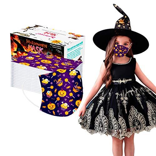 PPangUDing 50/100 Stück Halloween Mundschutz Einweg 3-lagig Sommer Atmungsaktiv Staubdicht Schlauchtuch Bandana Halstuch für Jungen Und Mädchen