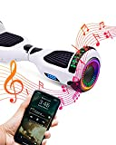 ACBK D01 Bluetooth Route LED Bianco, Scooter Elettrico Hoverboard Autobilanciato Unisex-Youth, 6.5'