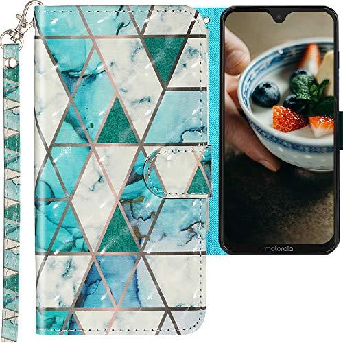 CLM-Tech Hülle kompatibel mit Motorola Moto G7 / Moto G7 Plus - Tasche aus Kunstleder - Klapphülle mit Ständer & Kartenfächern, Marmor türkis Mehrfarbig