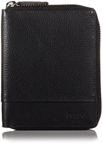 Bugatti Atlanta Portemonnaie Damen Leder 7CC, Geldbörse Damen Leder Reißverschluss - Portmonee Geldbeutel Damengeldbörse - Schwarz