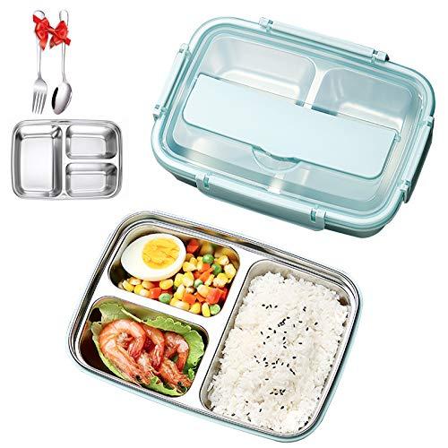 IYOYI Lunch Box Porta Pranzo con Posate(Forchetta e Cucchiaio), Bento Box Scuola Pranzo con 3 Scomparti in Acciaio Inossidabile, Porta Pranzo Contenit