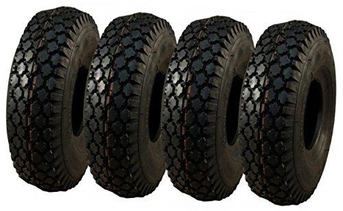 4x Reifen und Schläuche SUPERSTRONG für Tret GoKart 4.00-8 und 4.80/4.00-8 (400x100), extrem stabiler Reifenaufbau in 4 PR, sehr starkes Blockprofil, Tragkraft pro Reifen 265 kg, nahezu unzerstörbar