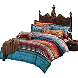 AShanlan Ropa de cama bohemia, 140 x 200 cm, azul, rojo, estilo bohemio, indio, exótico, 2 piezas, microfibra, funda nórdica con funda de almohada de 70 x 90 cm y cremallera