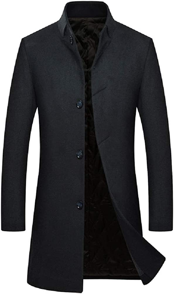 CHARTOU Men's Stand Collar Wool Blend Lined Quilted Mid Long Jacket Pea Coat