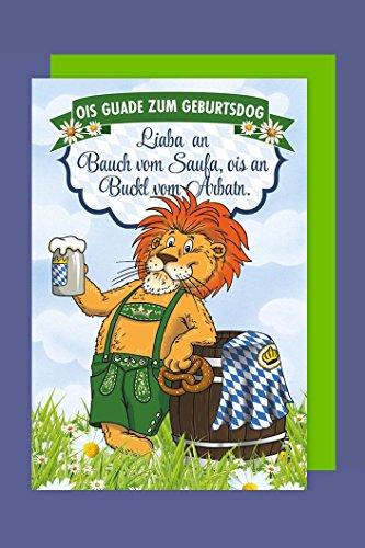Bayern Geburtstag Karte Grußkarte Humor Bayerische Löwe Bier 16x11cm
