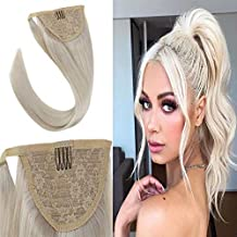 Youngsee Human Hair Ponytail Wrap Around Clip in Ponytail Real Hair Extensions #60 Platinum Blonde Remy Long Straight Ponytail Clip in Hair 18