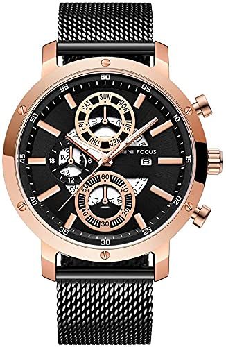 Reloj de Cuarzo Luminoso for Hombre, Correa de Mesa de Red de Acero Inoxidable, Reloj de numerales Romanos a Mano, dial de Cristal Impermeable a Prueba de Agua, Regalo de joyería de cumpleaños