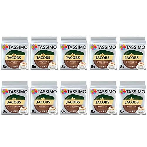TASSIMO Jacobs Cappuccino Classico Kaffeepads - 10 Packungen (80 Getränke)