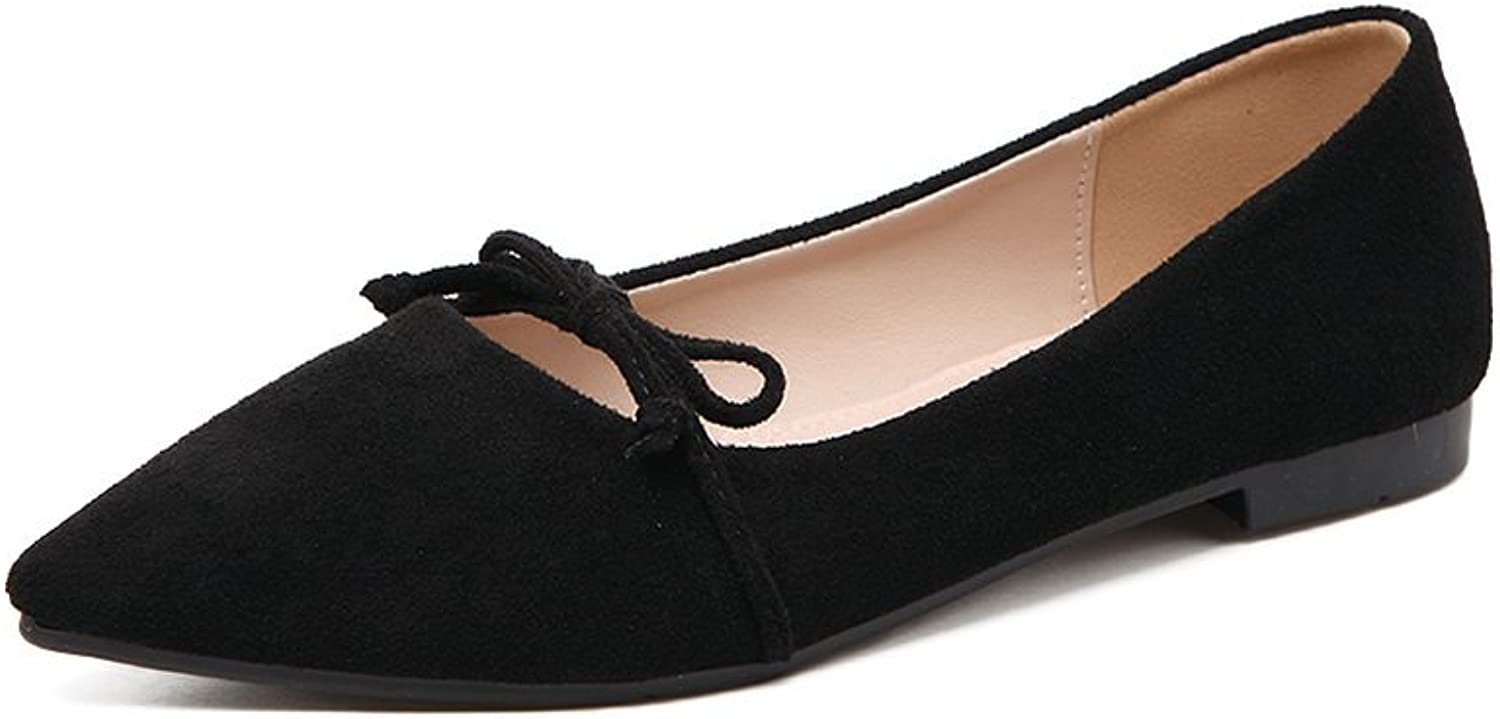 Ladola Womens Bows Low-Cut Uppers Pointed-Toe Suede Flats shoes