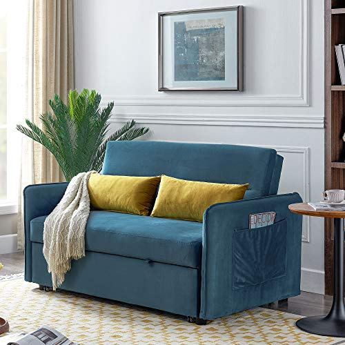 Two Seater Sofa Bed Compact Soft Velvet Sofa Bed Pull Out Sleeper Sofa with Matching Cushions Living Room Furniture-Blue