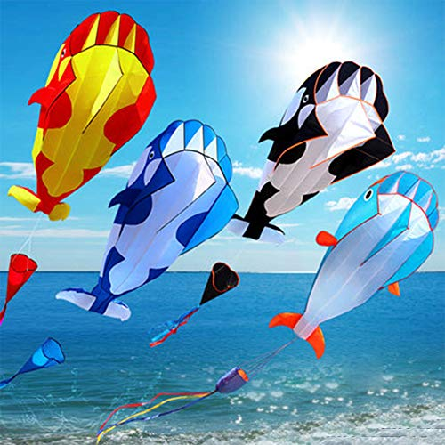Kalaokei Flying Kite ,3D Soft Whale Frameless Flying Kite Outdoor Sports Toy Children Kids Funny Gift Red-Yellow