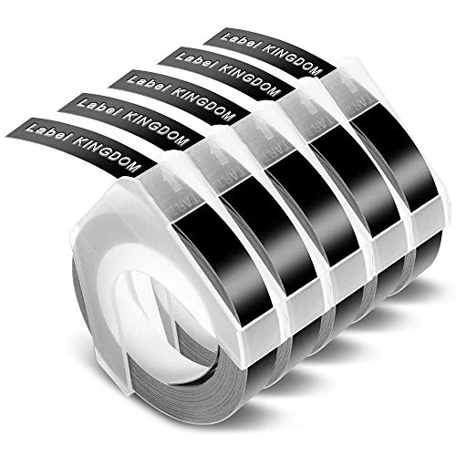 Label Kingdom Compatible Embossing 3D Label Tape Replacement for Dymo S0717930 Omega Home Junior Home Embossing Label Maker, S0898130 Self-Adhesive Plastic White on Black Tape 9mm x 3m, 5-Roll