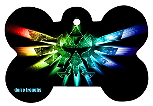 O2 Princess Zelda Link Triforce Art Design Custom Logo Dog Pet Cat ID Tag Bone Shape Personalized Key Ring (C)