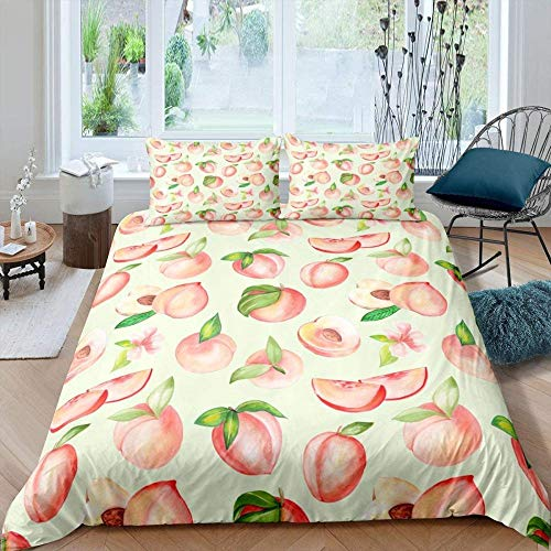 Aweeaceo 3D Girls Bedding Set Cute Pink Fruit Peach Leaf Girl 135 X 200 Cm Microfibre Super Soft Duvet Cover With Zip Closure For Girls (2 Pillowcases 50X75Cm) Christmas Birthday Gift