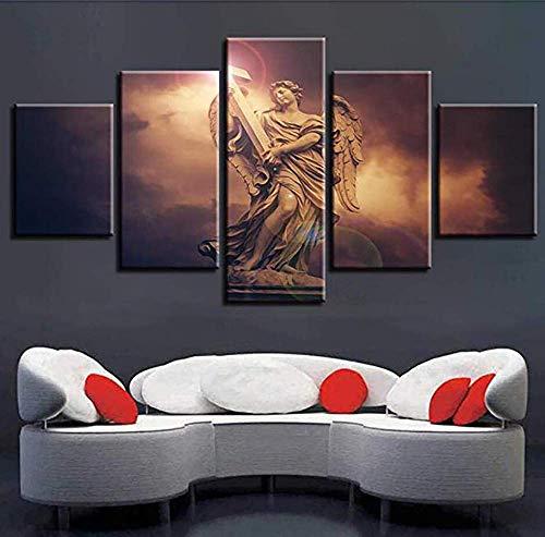 HD canvas gedrukt schilderij 5 panelen mode-kalligrafie muurkunst portret-aanleidingsteken kruis poster afbeelding prints voor thuis kantoordecoraties 30×40×2+30×60×2+30×80×1 A