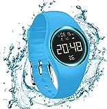RCruning-EU Pulsera Actividad Impermeable IP68 Fitness Smartwatch Tracker Contador de Pasos, Contador de Calorías,Distancia niños Mujer Hombre - Non-Bluetooth Non-App Azul Claro