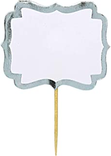 amscan Party Fun Classic Label Picks, 24 Pieces, Made from Paper, White w/Silver Border, 2 1/4 x 3 1/2 by