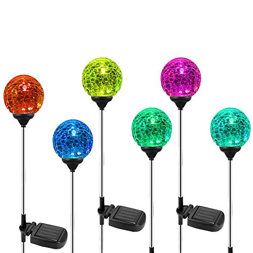6 Pack Solar Garden Lights, OxyLED Crystal Glass LED Solar Globe Light, Color-Changing Outdoor Solar Stake Light, Landscape Light Decoration for Patio Yard Pathway Walkway Halloween Christmas