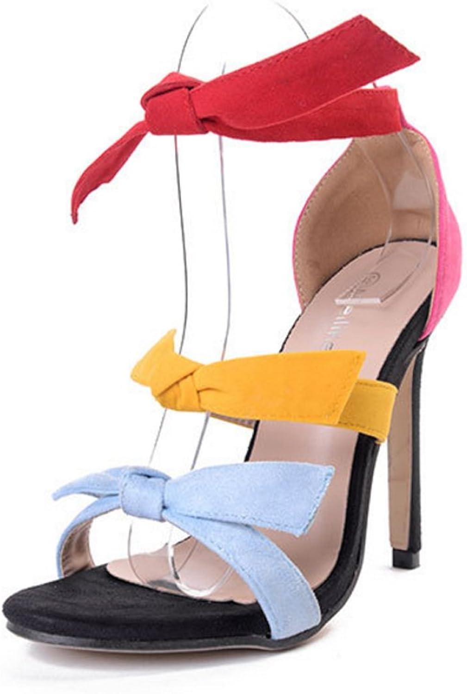 LZWSMGS Suede Women's shoes Candy color Fashion Bow color Mixed color Suede Stiletto High Heel Sandals 35-40cm Ladies Sandals (color   color, Size   6 US)