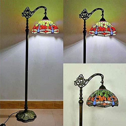Ø30CM Tiffany Libelle Wohnzimmer Stehleuchte Vintage Leselampe aus Handbuch Glasmalerei Art-Deco-Stehlampe Schlafzimmerlampe für Arbeitszimmer Retro-Stehleuchte verstellbarer Lampenschirm 165 cm …