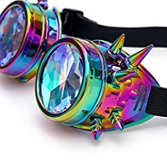 AMhomely Unisex Polarized Steampunk Sunglasses Diffracted Lens Vintage Retro Round Sunglasses Cyber Goggles Kaleidoscope Punk Hippy,Comfort Ideal for Cosplay,Fancy Dress Costumes (Multicolor) #4