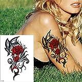 tzxdbh 3pcs El Tatuaje Rose de la Muchacha del Cuerpo del Tatuaje Tatuaje Muslo de la Pierna Tatuaje Grande del Agua del Verano de Transferencia del Tatuaje Cruz 3D brújula Tatuaje Armadura 3Pcs-
