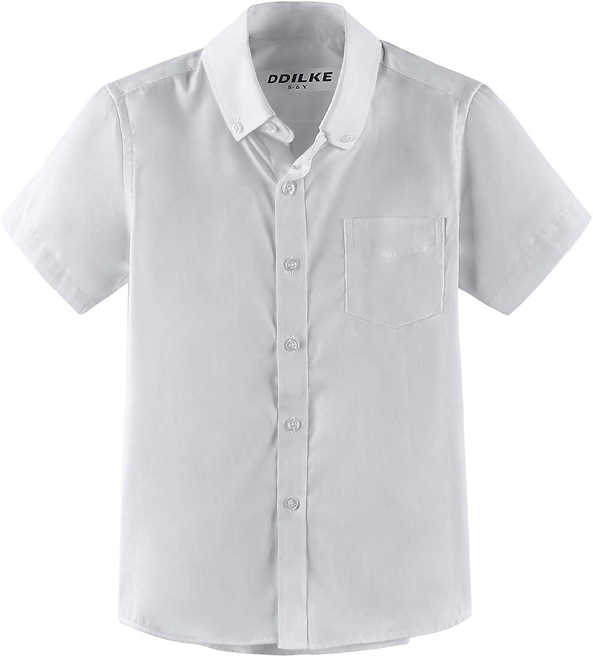 Boys Dress Shirt Short Sleeve Uniform Oxford Shirts (Regular Fit)