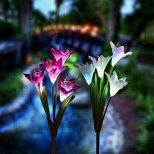 Solar Garden Lights Outdoor, 2 Pack Solar Powered Lights with 8 Lily Flower, Multi-Color Changing LED Solar Stake Lights for Garden, Patio, Backyard (Yellow/White) (Calla Lily?White.Purple?)