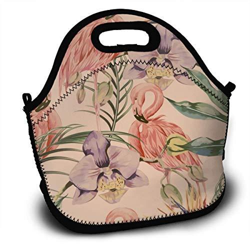 Dnwha - Bolsa de almuerzo reutilizable, diseño de hojas de palma, flamencos y flora con aislamiento, mochila para el almuerzo, picnic al aire libre, bolsa de comida para niños, mujeres y hombres