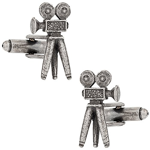 Cuff-Daddy Movie Camera Cuff Links Show Off Your Hobby with Old Hollywood School Movie Camera Cufflinks Silver-tone Coating Cufflinks Best Gift with Presentation Box Suitable Beautiful Thoughtful Gift