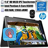 2020 Latest HP Pavilion X360 11 2 in 1 Laptop 11.6' HD IPS Touchscreen Intel Quad-Core Pentium Silver N5000 4GB DDR4 128GB SSD Card HP Audio Boost WiFi HDMI + iCarp Wireless Mouse