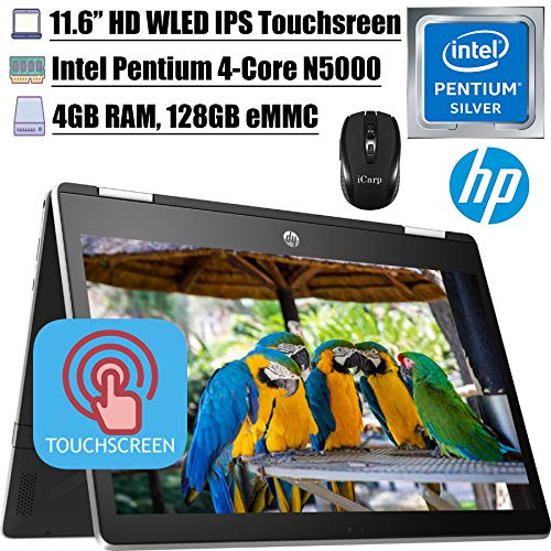 2020Latest HP Pavilion X360 11 2 in 1 Laptop 11.6' HD IPS Touchscreen Intel Quad-Core Pentium Silver N5000 4GB DDR4 128GB SSD Card HP Audio Boost WiFi HDMI + iCarp Wireless Mouse