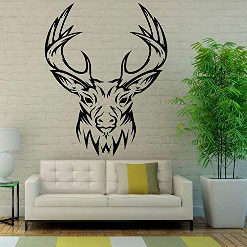 Design Renna Murale Testa Di Cervo Applique Da Parete Camera Decorativa In Vinile Soggiorno Adesivo Da Parete 58X72 Cm