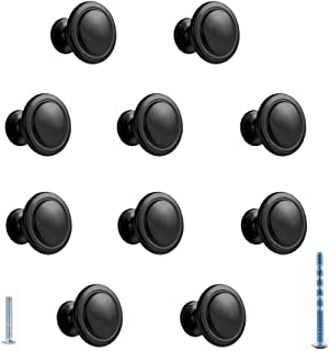 CellCase 10 Pieces Round Zinc Alloy Pull Handle Drawer Cabinet Door Knob with Screws (Black - 10 Pieces)