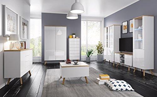 Moderne Wohnwand Milano Hängewand Tv -Board Design Wohnzimmer Haus Raum Heutiges Design weiß Eiche (weiß - Die Wohnwand (Zwei Vitrinen + Unterschrank) + eine Kommode + EIN Tisch)