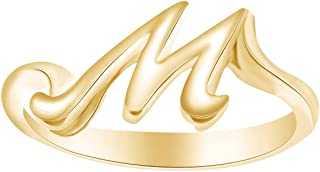 Alphabet Letter A-Z Initial Fashion Engagement Ring in 14k Yellow Gold Over Sterling Silver