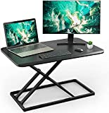 Standing Desk Converter Height Adjustable Stand up Desktop Riser, Sit to Stand Gas Spring Workstation 28.5 inches for Laptop & Monitors for Home Office by HUANUO