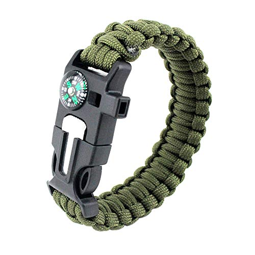 MansWill Pulsera de supervivencia, 5 en 1, 7 núcleos, paracord de emergencia, deportivo, con brújula impermeable, silbato de rescate, iniciador de fuego, multiherramienta, accesorios de aventura, Hombre, Army Green