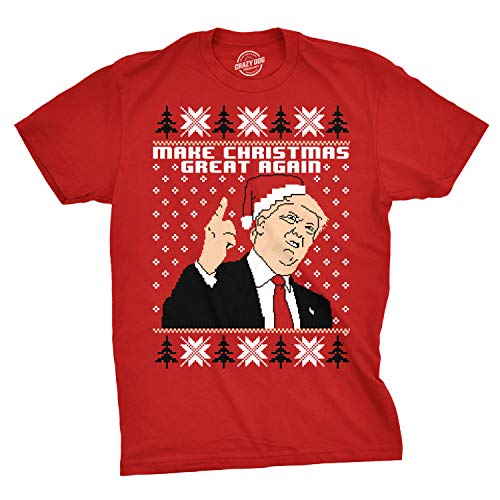 Crazy Dog Tshirts - Mens Make Christmas Great Again Trump In Santa Hat Funny Ugly Humor T Shirt (Red) - 5XL - Camiseta Divertidas