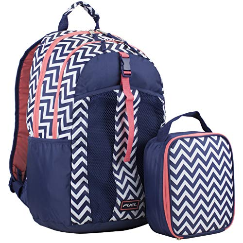 Fuel Backpack & Lunch Bag Bundle, Navy Blue/Coral/Chevron Print