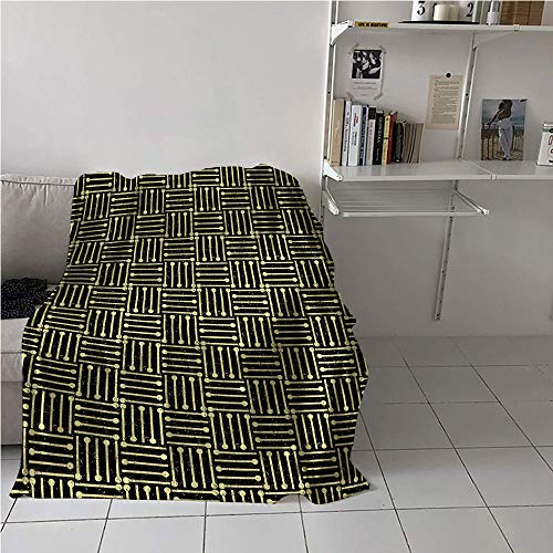 """MNXNEZ Art Deco Blanket Room/Bedroom,Repetitive Grungy Geometric Vintage 1920s Inspired Design,Print Summer Quilt Comforter,Blanket for Sofa Couch Bed 60"""" x 91"""""""