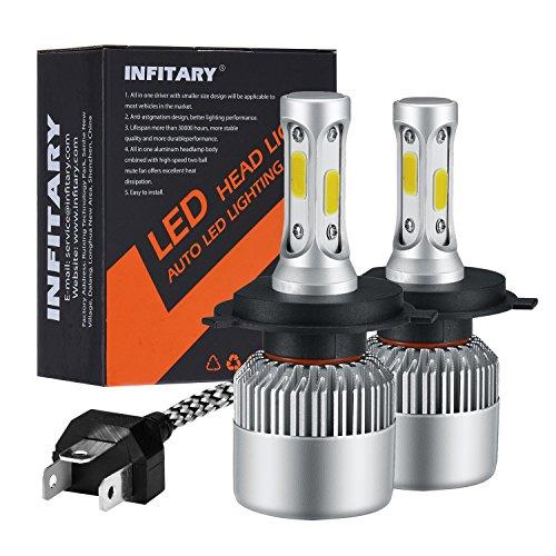 INFITARY LED Headlight Bulbs H4 9003 Conversion Kits High/Low Beam Auto Headlamp Dual Beam Car Head light 72W 6500K 10000LM COB Chips 1 pair(H4/9003/HB2 Hi/Lo)
