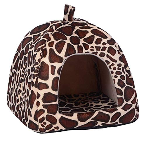 YITON Pet Bed Brown Soft Pet Dog Cat House Tent Kennel Doggy Winter Warm Cushion Basket Animal Bed Cave 1Pcs M