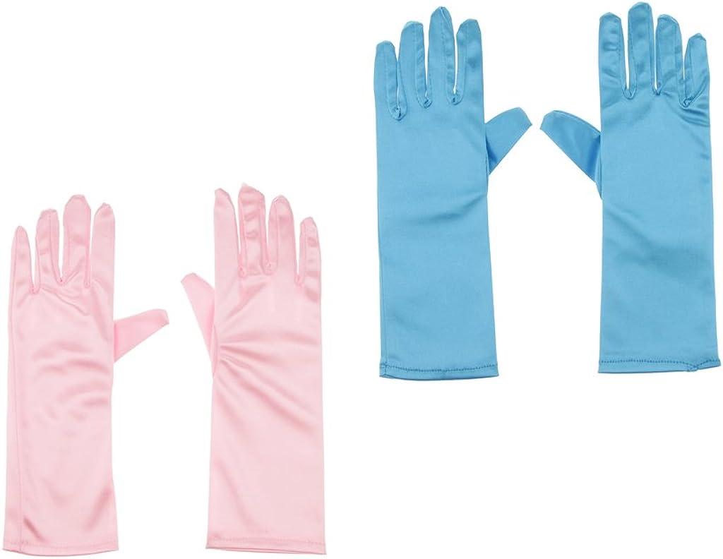 Milageto Girls Holiday, Wedding Pageant Pink/Bule Nylon Gloves Princess